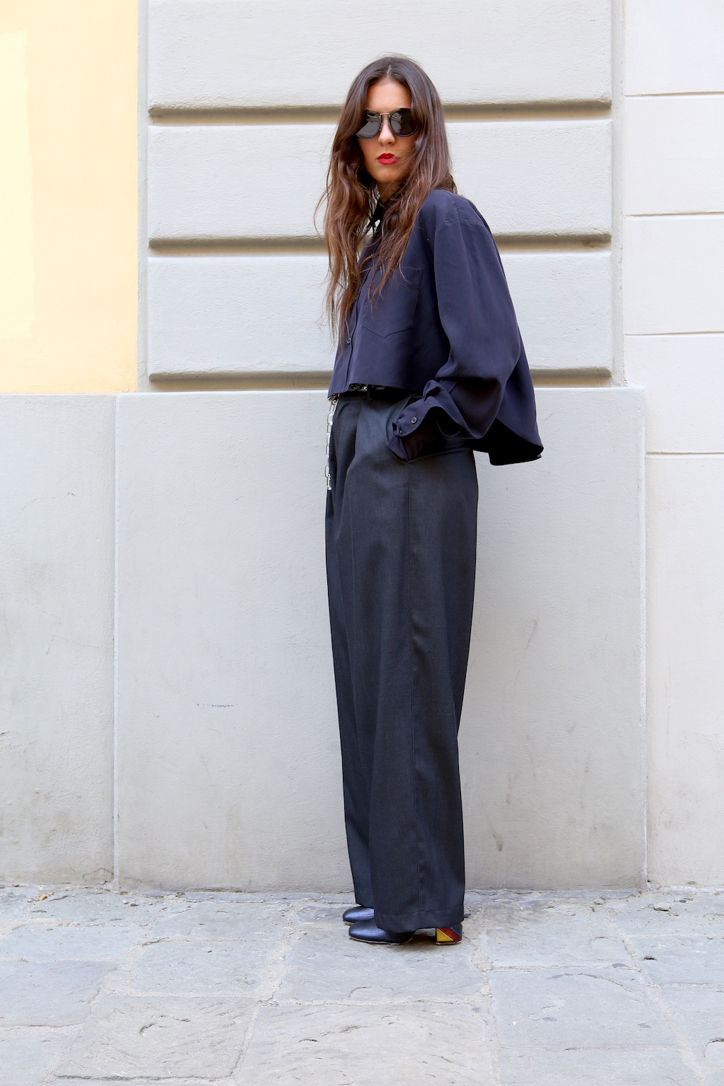 gingi big pleats trousers