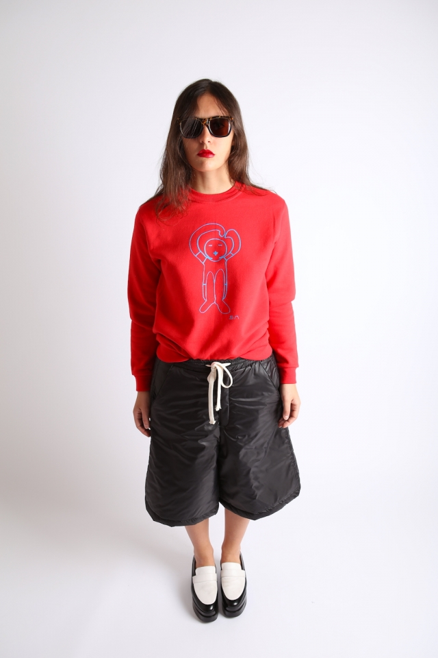 Société Anonyme sweatshirt and trunks + Robert Clergerie big loafers
