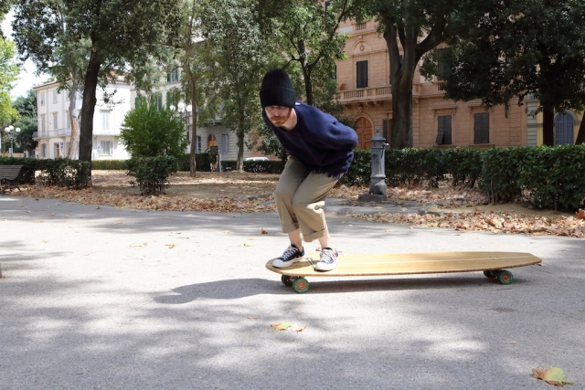 Société Anonyme pants and hat + Dries Van Noten knitwear + Comme Play Converse sneakers + Hamboards skateboards