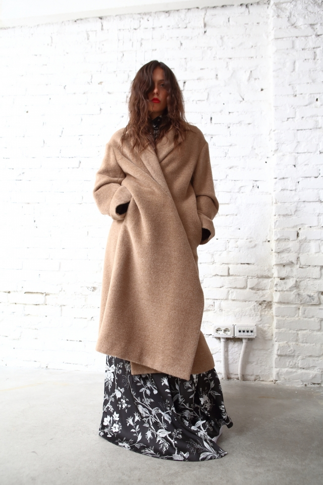 Société Anonyme camel hair coat + Mcq by Alexander McQueen dress + Vans Vault sneakers