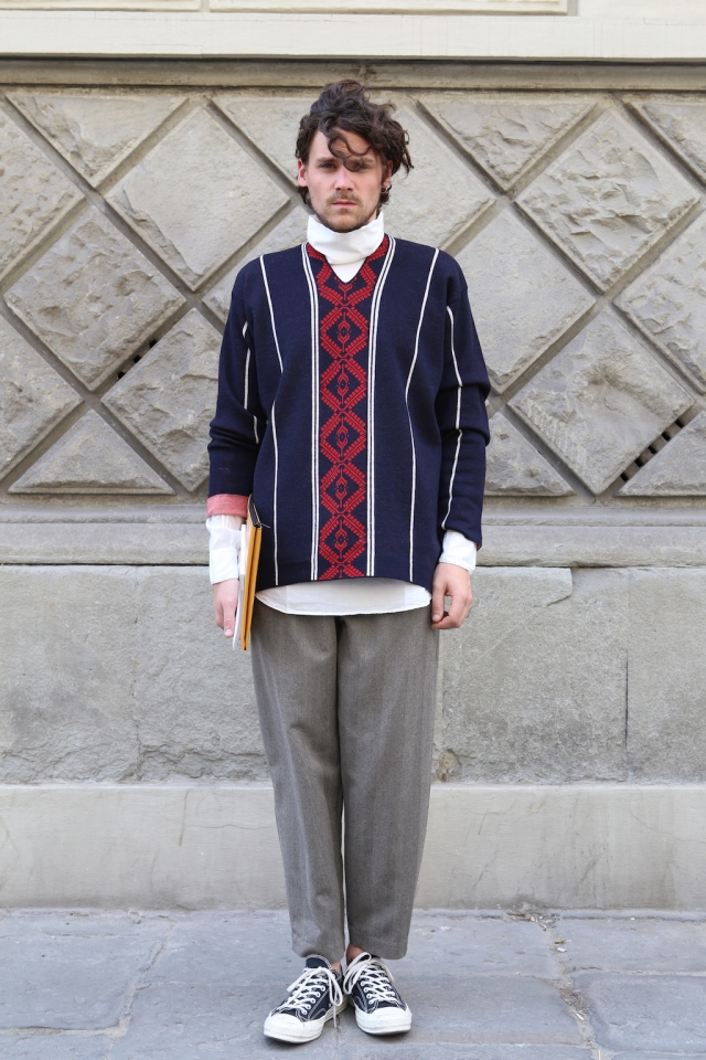 Dries Van Noten AW18 Jumper + Shirt, Société Anonyme trousers + Comme Play Converse