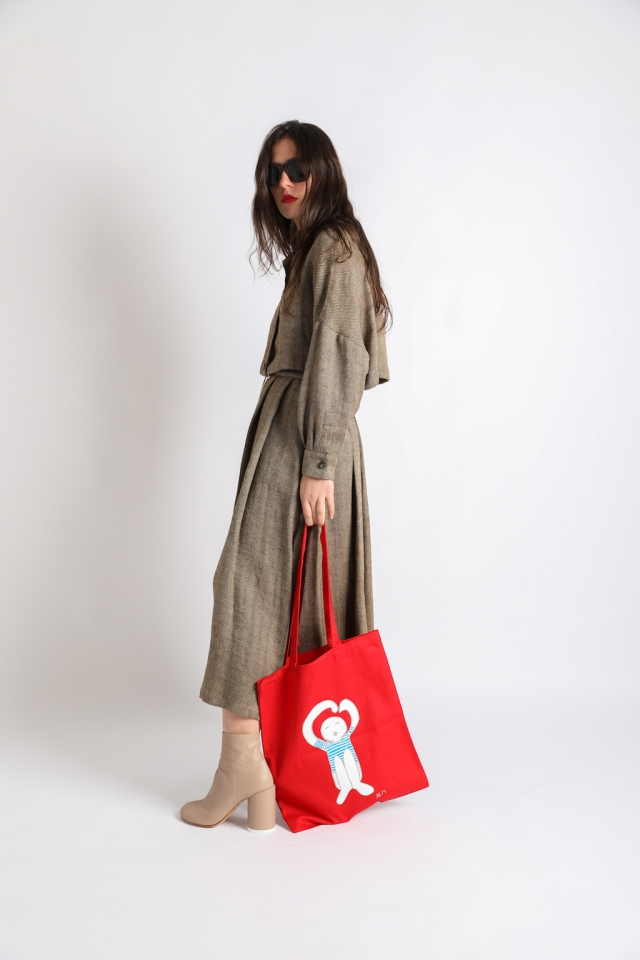 Coulisse jacket + Travaille skirt and Logo tote bag