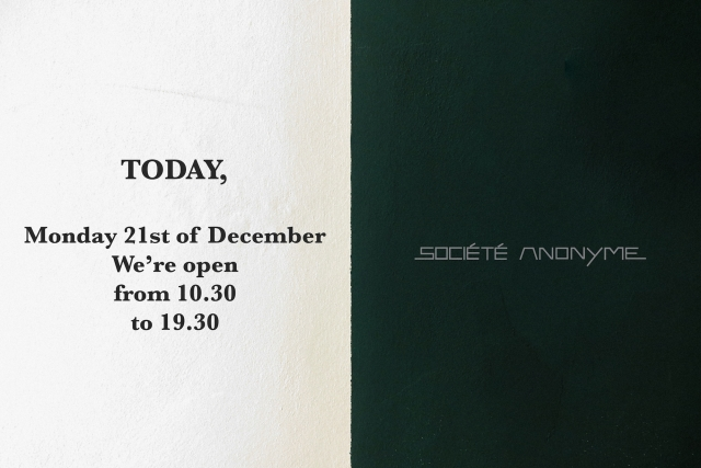 Monday 21st December, opening hours